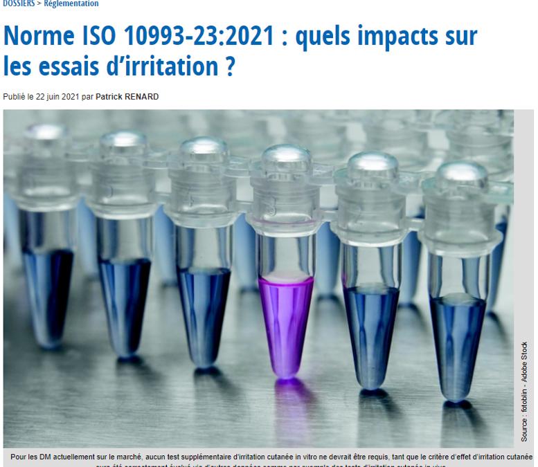 Essais d'irritation (ISO 10993-23:2021) : un article détaillé publié dans DeviceMed